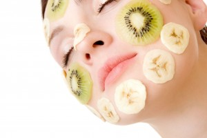fruit masque on face